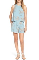 Sun And Shadow Women's Print Popover Romper Blue Chambray Palm Print
