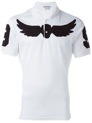 Alexander Mcqueen Winged Skull Patch Polo Shirt White