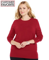 Jm Collection Plus Size Crew Neck Sweater New Red Amore
