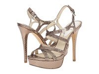 Michael Michael Kors Cicely Platform Nickel Metallic Snake High Heels Silver
