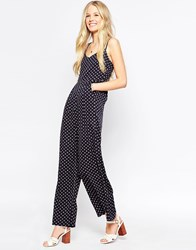 Influence Jumpsuit With Strappy Back Geo Print Black