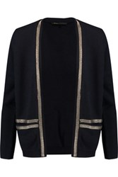Maje Chain Embellished Wool And Silk Blend Cardigan Midnight Blue