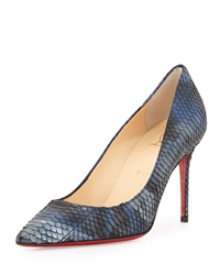 Christian Louboutin Decollete Metallic Snakeskin Point Toe Red Sole Pump Blue