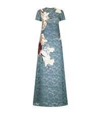 Valentino Floral Applique Lace Gown Female Sky