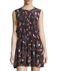 See By Chloe Pleated Bird Print Sleeveless Dress Plum