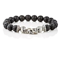 Emanuele Bicocchi Men's Sterling Silver And Lava Bead Bracelet No Color