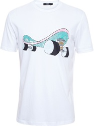 Markus Lupfer Sequin Skateboard T Shirt White