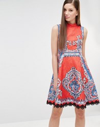 Comino Couture High Neck Skater Dress In Mutli Print With Stud Detail Red Multi