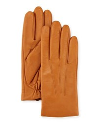 Ugg Three Point Leather Gloves W Faux Fur Lining B. Tan