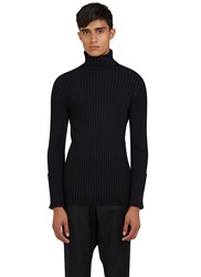 Valentino Ribbed Roll Neck Sweater Black