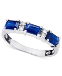 Macy's 14K White Gold Ring Sapphire 1Ct T.W. And Diamond Accent Blue