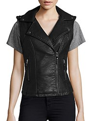 Max Studio Notched Collar Sleeveless Jacket Black