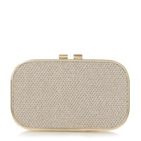 Linea Belda Reptile Print Box Clutch Bag Gold