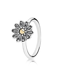 Pandora Design Pandora Ring Sterling Silver And 14K Gold Oopsie Daisy Silver Gold