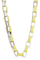 Diane Von Furstenberg Gabby Leather Wrapped Link Necklace Yellow