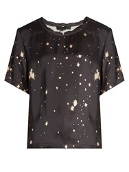 Alexander Wang Splatter Print Round Neck Satin Top Grey Multi