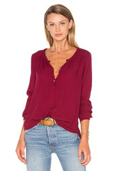 Velvet By Graham And Spencer Cecilia Long Sleeve Half Button Blouse Red