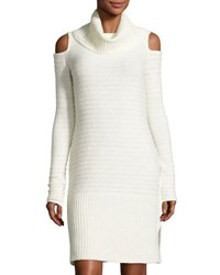 Marled By Reunited Cold Shoulder Cowl Neck Sweaterdress Off White