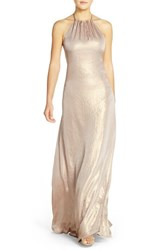 Women's Nouvelle Amsale 'Deidre' Crushed Liquid Chiffon Halter Trapeze Gown Rose Gold