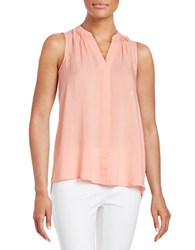 Lord And Taylor Petite Hi Lo Sleeveless Blouse Solar