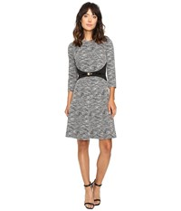 Calvin Klein 3 4 Sleeve Fit And Flare Dress Cd6k1410 Black Cream Women's Dress