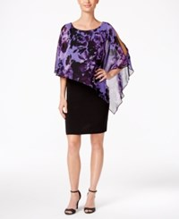 Connected Petite Cape Overlay Sheath Dress Purple