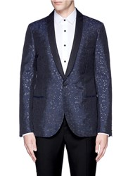 Lanvin Slim Fit Metallic Jacquard Tuxedo Blazer Blue