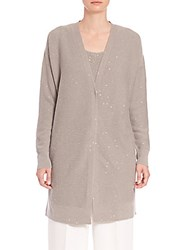 Lafayette 148 New York Sequined Cashmere Cardigan Mercury