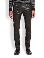 Diesel Black Gold Faux Leather Five Pocket Jeans Black