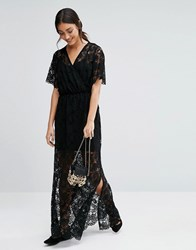 Girls On Film Kimono Sleeve Lace Overlay Maxi Dress Black