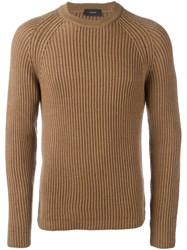 Joseph Cable Knit Jumper Brown