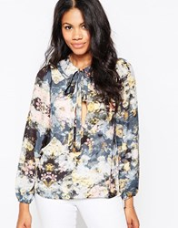 Love Pussy Bow Blouse Floral Multi