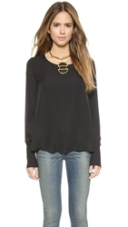 Rory Beca Sommer Long Sleeve Open Back Blouse Onyx