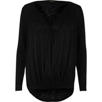 River Island Womens Black Strappy Front Wrap Top