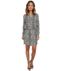Sam Edelman Samantha Printed Dolphin Hem Shirtdress Black Ivory Women's Dress