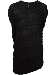 Tom Rebl Sleeveless Draped T Shirt Black