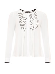 Relish Ruffled Blouse With Contrasting Trims White