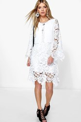 Boohoo Crochet Lace Kimono Sleeve Dress White