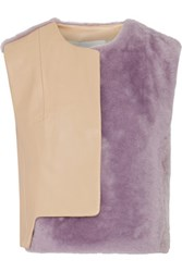 3.1 Phillip Lim Two Tone Leather And Faux Fur Vest Sand