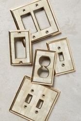 Anthropologie Bone Inlay Switch Plate Ivory