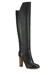 Vince Dempsey Python Embossed Leather Over The Knee Boots Black