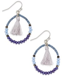 Inc International Concepts Silver Tone Blue Bead Tassel Hoop Earrings Only At Macy's