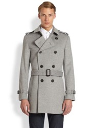 Burberry Britton Wool Cashmere Trench Coat Pale Grey