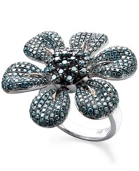 Macy's Blue Diamond Pave Flower Ring In Sterling Silver 2 5 8 Ct. T.W.