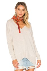 Autumn Cashmere Side Slit V Neck Sweater Beige