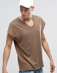 Asos Oversized Sleeveless T Shirt With Notch V Neck In Slub Textured Fabric Coco Brown