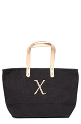 Cathy's Concepts 'Nantucket' Personalized Jute Tote Grey Black X