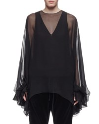 Chloe Balloon Sleeve Sheer Silk Tent Blouse Black