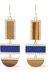Kevia Gold Plated Tiger's Eye And Lapis Lazuli Earrings Brown