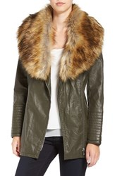 Love Token Women's Faux Leather Jacket With Faux Fur Collar Olive